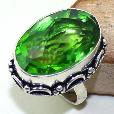 Per 300a bague t60 medievale peridot chevaliere quartz vert bijou argent 925 achat vente