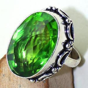 Per 300c bague t60 medievale peridot chevaliere quartz vert bijou argent 925 achat vente