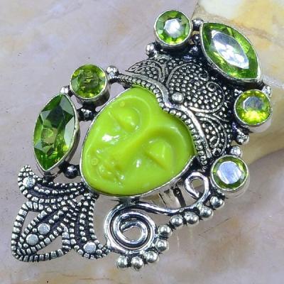 Per 305a bague t53 bouddha jade peridot fleur lys bijou argent 925 achat vente