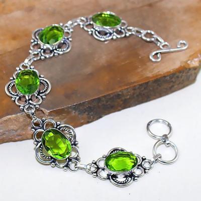 Per 310a bracelet peridot chevaliere quartz vert bijou argent 925 achat vente