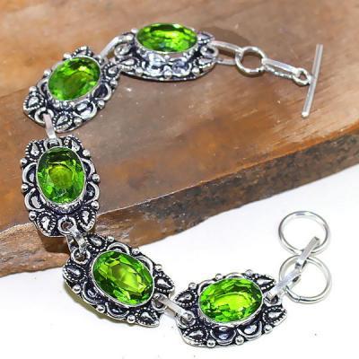 Per 312a bracelet peridot chevaliere quartz vert bijou argent 925 achat vente