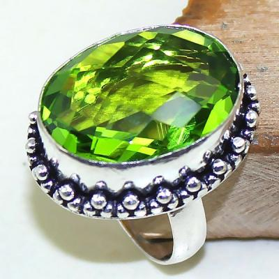 Per 313a bague t62 medievale peridot chevaliere quartz vert bijou argent 925 achat vente
