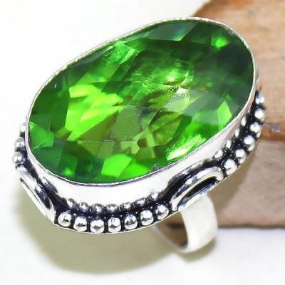 Per 314a bague t59 medievale peridot chevaliere quartz vert bijou argent 925 achat vente