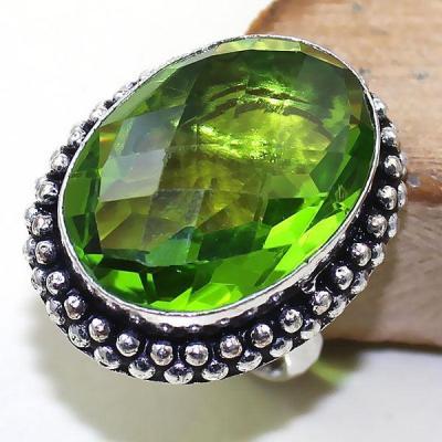 Per 315a bague t56 medievale peridot chevaliere quartz vert bijou argent 925 achat vente