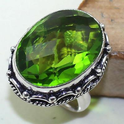 Per 316a bague t52 medievale peridot chevaliere quartz vert bijou argent 925 achat vente