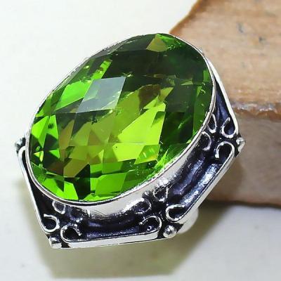 Per 317a bague t52 medievale peridot chevaliere quartz vert bijou argent 925 achat vente