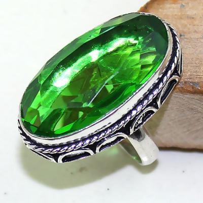 Per 318a bague t55 medievale peridot chevaliere quartz vert bijou argent 925 achat vente