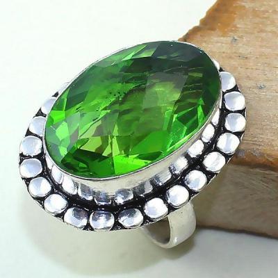 Per 319a bague t60 medievale peridot chevaliere quartz vert bijou argent 925 achat vente