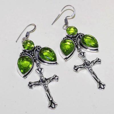 Per 321a boucles croix pendants oreilles peridot quartz argent 925 achat vente