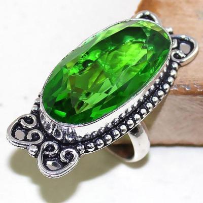 Per 322a bague t54 medievale peridot chevaliere quartz vert bijou argent 925 achat vente
