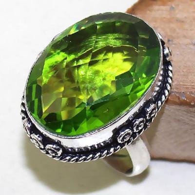 Per 324a bague t58 medievale peridot chevaliere quartz vert bijou argent 925 achat vente