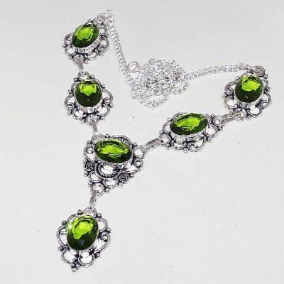 Per 326a collier parure sautoir peridot vert quartz argent 925 achat vente