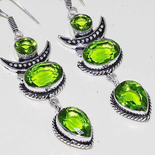 Per 327c boucles pendants oreilles peridot quartz argent 925 achat vente