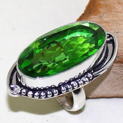 Per 330a bague t51 medievale peridot chevaliere quartz vert bijou argent 925 achat vente