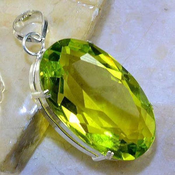 Per 335a pendentif pendant 32gr peridot quartz argent 925 achat vente bijoux