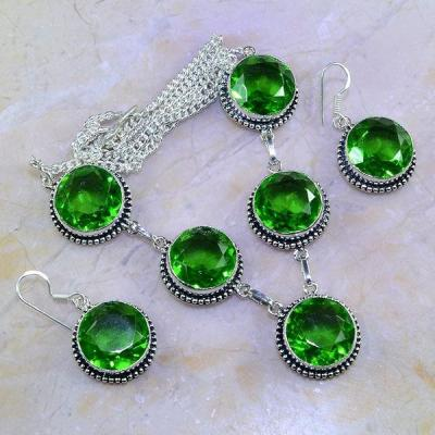 Per 342a parure collier boucles peridot vert quartz argent 925 achat vente