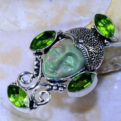 Per 343a bague t53 bouddha peridot steampunk gothique elfique bijou argent 925 achat vente