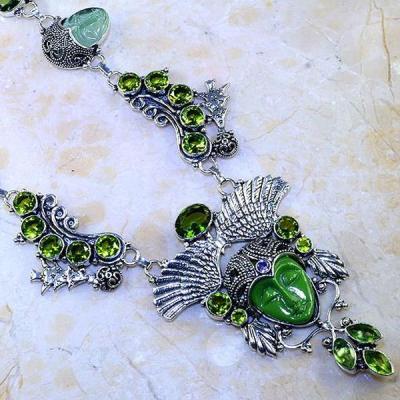 Per 346c collier parure bouddha peridot steampunk gothique elfique bijou argent 925 achat vente
