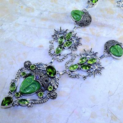 Per 347b collier parure bouddha peridot steampunk gothique elfique bijou argent 925 achat vente