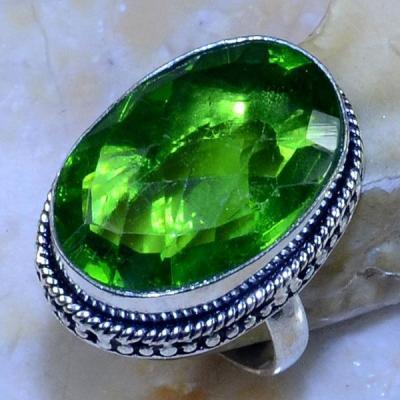 Per 348a bague t56 medievale peridot chevaliere quartz vert bijou argent 925 achat vente
