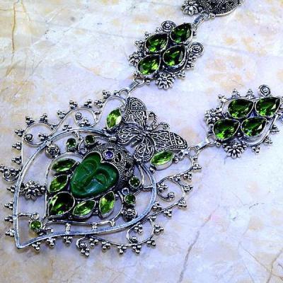 Per 350b collier parure bouddha peridot steampunk gothique elfique bijou argent 925 achat vente