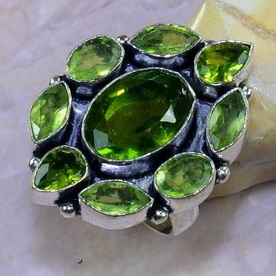 Per 353a bague t60 medievale peridot chevaliere quartz vert bijou argent 925 achat vente