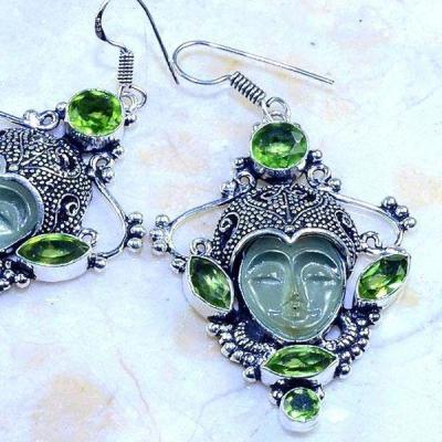 Per 357c boucles oreilles bouddha peridot steampunk gothique elfique bijou argent 925 achat vente