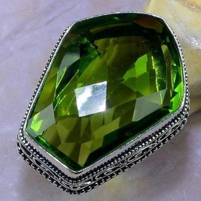 Per 361a bague t56 medievale peridot chevaliere quartz vert bijou argent 925 achat vente