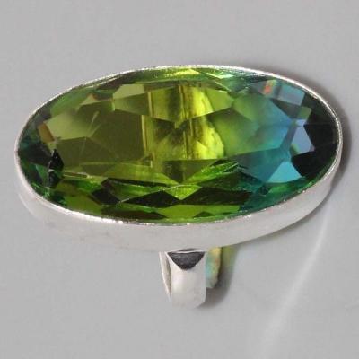 Per 373c bague t53 medievale peridot chevaliere quartz vert bijou argent 925 achat vente