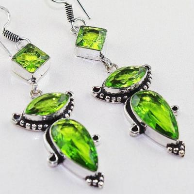 Per 375c boucles pendants oreilles peridot quartz argent 925 achat vente bijou