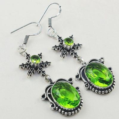 Per 376a boucles pendants oreilles peridot quartz argent 925 achat vente bijou