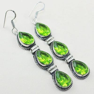 Per 378a boucles pendants oreilles peridot quartz argent 925 achat vente bijou
