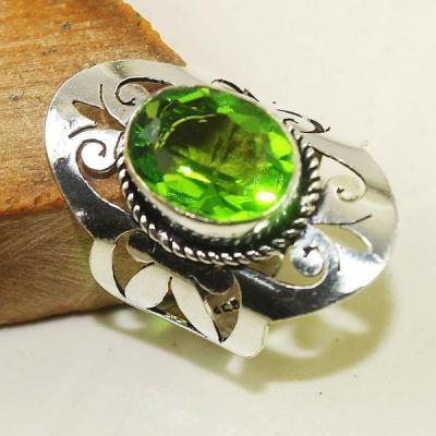 Per 379b bague t60 medievale peridot chevaliere quartz vert bijou argent 925 achat vente