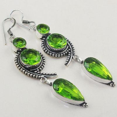 Per 380a boucles pendants oreilles peridot quartz argent 925 achat vente bijou