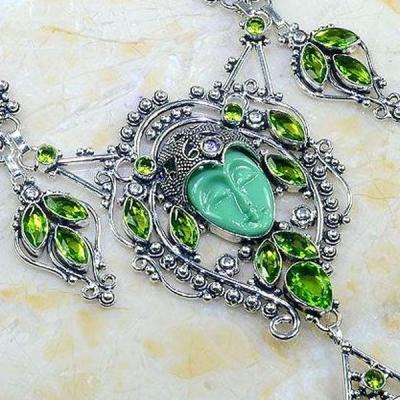 Per 392c collier parure peridot bouddha gothique argent 925 achat vente bijou