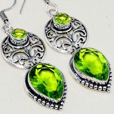 Per 394c boucles pendants oreilles peridot quartz argent 925 achat vente bijou