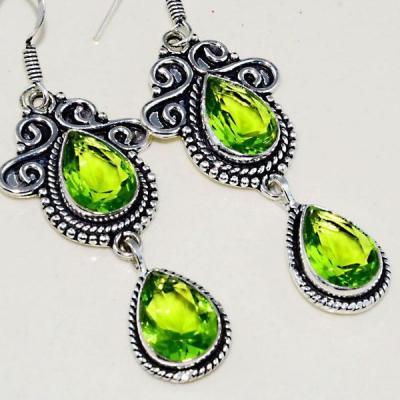 Per 395c boucles pendants oreilles peridot quartz argent 925 achat vente bijou