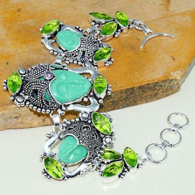 Per 398a bracelet peridot bouddha gothique argent 925 achat vente bijou