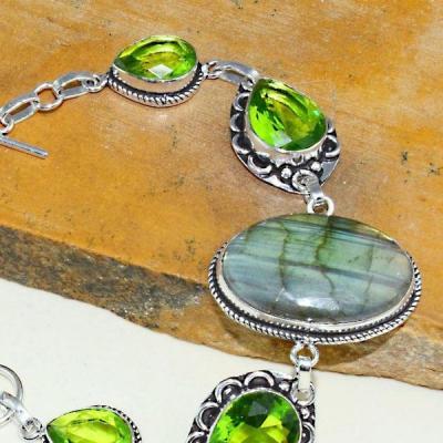 Per 401b bracelet peridot labradorite gothique argent 925 achat vente bijou