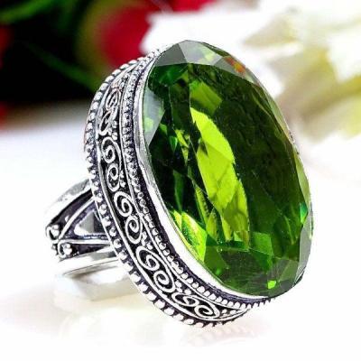 Per 403a bague t55 medievale peridot chevaliere quartz vert bijou argent 925 achat vente