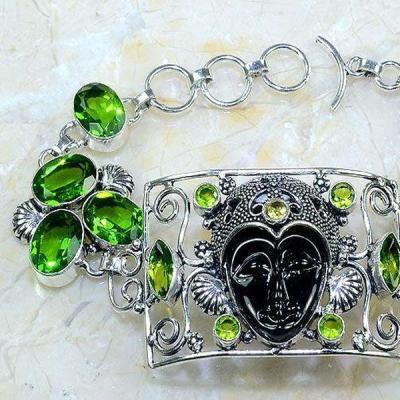 Per 404c bracelet peridot onyx noir gothique argent 925 achat vente bijou