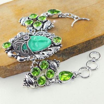 Per 507a bracelet peridot bouddha gothique argent 925 achat vente bijou 1