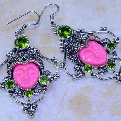 Per 508c boucles pendants oreilles peridot bouddha gothique argent 925 achat vente bijou 1