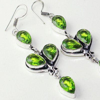 Per 603c boucles pendants oreilles peridot 10x15mm achat vente bijou argent 925