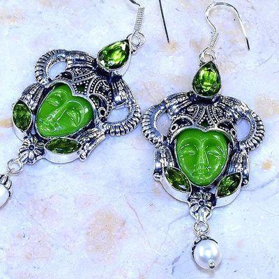 Per 608c boucles pendants oreilles bouddha peridot 25gr achat vente bijou argent 925