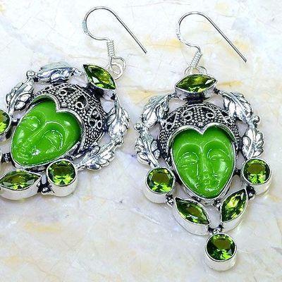 Per 609c boucles pendants oreilles bouddha peridot 25gr achat vente bijou argent 925