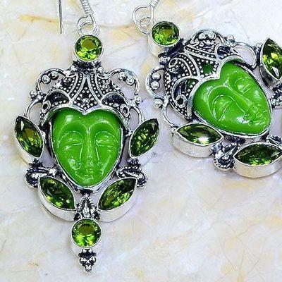 Per 611c boucles pendants oreilles bouddha peridot 26gr achat vente bijou argent 925