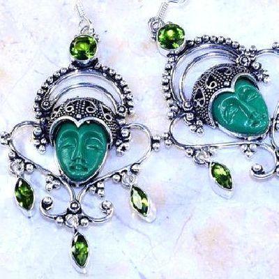 Per 618c boucles pendants oreilles bouddha peridot 33gr achat vente bijou argent 925