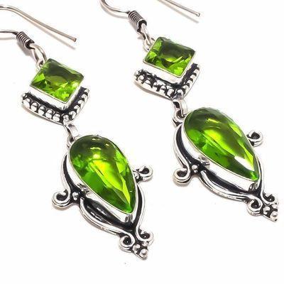 Per 660c boucles pendants oreilles peridot 10x20mm 13gr achat vente bijou argent 925