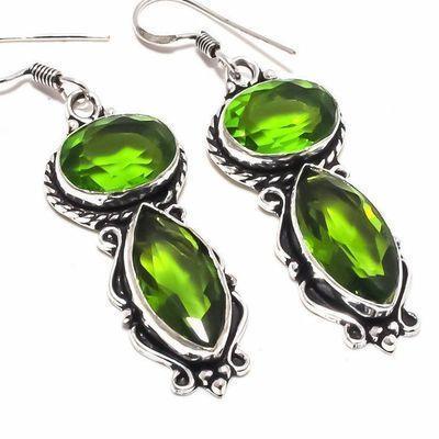Per 661c boucles pendants oreilles peridot 10x20mm 13gr achat vente bijou argent 925
